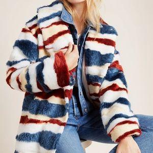 Anthropologie mixed fur coat size L BNWT